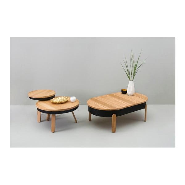 Přírodno-černý odkládací stolek z dubového dřeva s úložným prostorem Woodendot Batea L