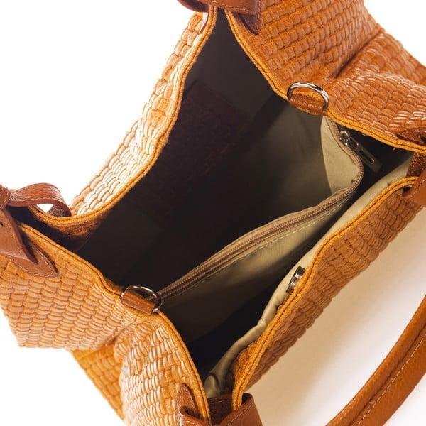 Koňakově hnědá kožená kabelka Federica Bass Hydri