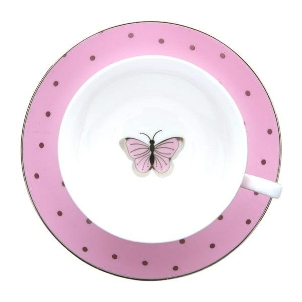 Ceașcă cu farfurioară Bombay Duck Miss Darcy, roz