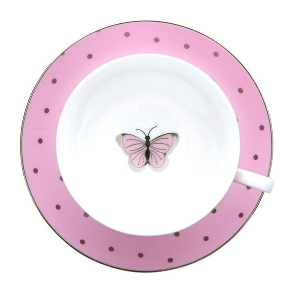 Růžový hrnek s  podšálkem BombayDuck Miss Darcy