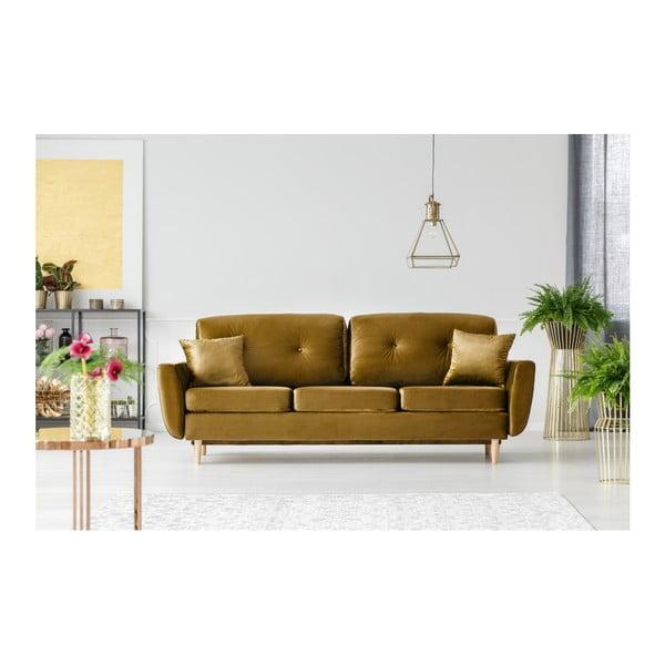 Hořčicově žlutá rozkládací třímístná pohovka s úložným prostorem Mazzini Sofas Silva