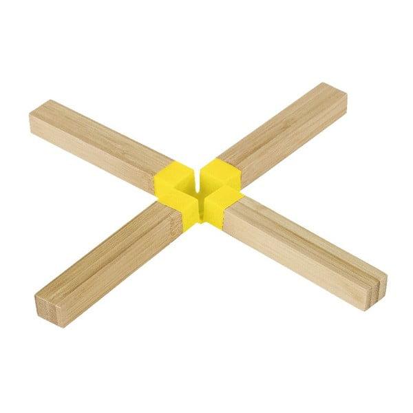 Žlutá bambusová podložka pod hrnec Wenko Cross