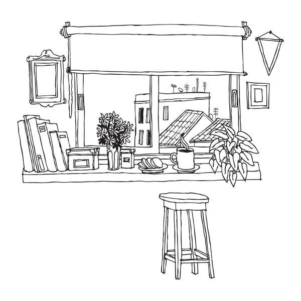 Samolepka Coffee Window, 110x213 cm