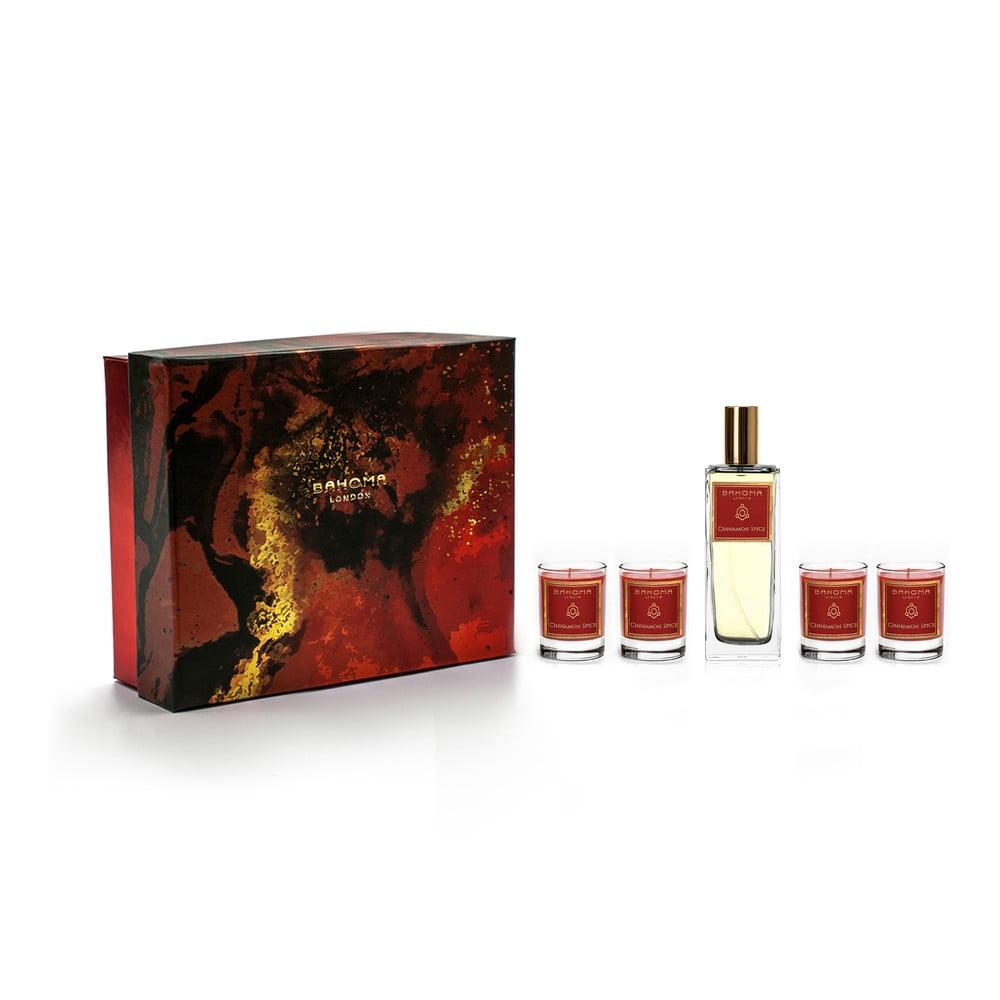 Set 4 vonných svíček a bytového parfému v dárkovém balení s vůní skořice a hřebíčku Bahoma London
