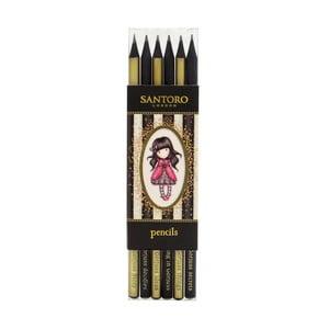 Sada 6 tužek zlaté a černé barvy Gorjuss Lady Bird