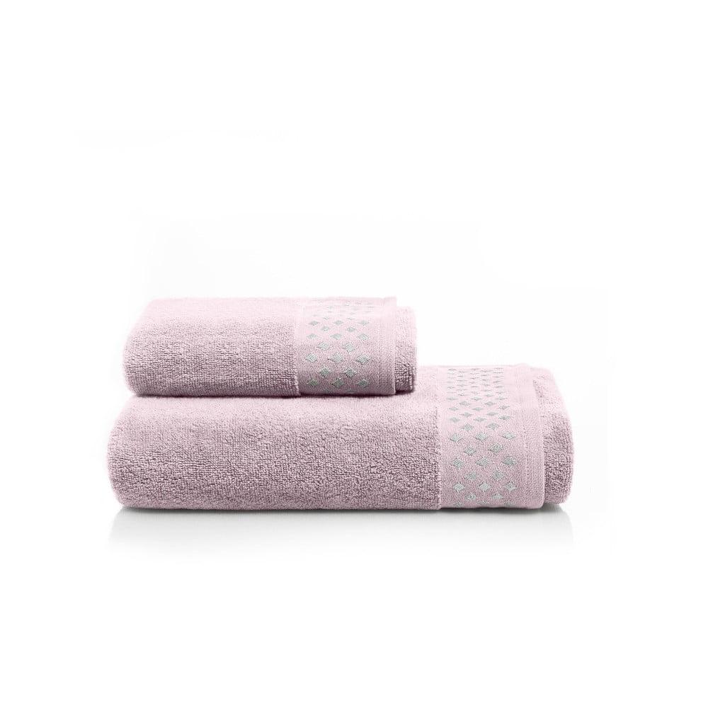 Fotografie Set světle růžové osušky a ručníku z bavlny Maison Carezza Lazio