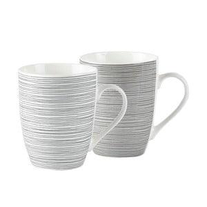 Sada 2 pruhovaných porcelánových hrnků KJ Collection, 300 ml