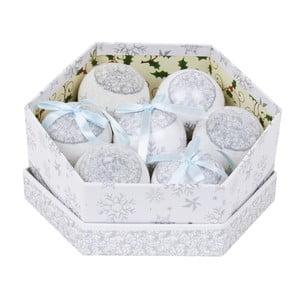 Sada 7 ozdob v krabičce Archipelago Silver Snowflake Baubles
