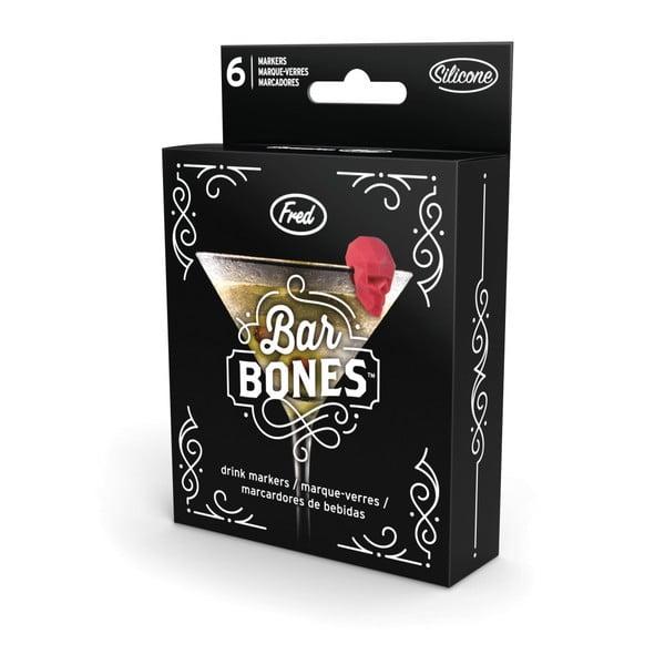 Sada 6 rozlišovačů na sklenice Fred & Friends Bar Bones