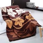 Přehoz Alpino hnědé květiny, 150x200 cm