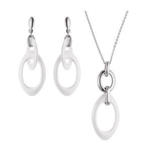 Sada náhrdelníku a náušnic Steel Ceramic White