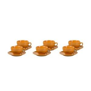 Sada 6 šálků s podšálky Kaleidos, oranžová