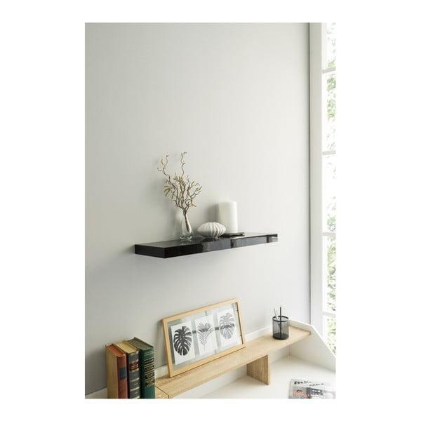 Černá nástěnná polička Intertrade Shelvy, délka60cm