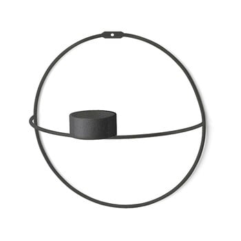 Sfeșnic de perete Circle, ø 21 cm, negru de la Unknown