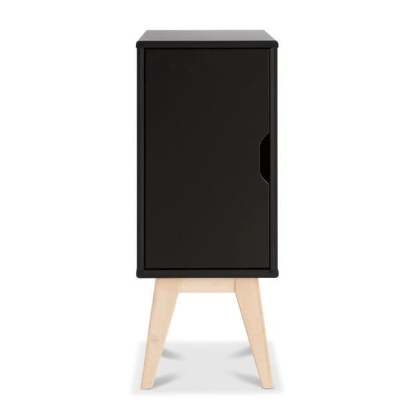 Čierny ručne vyrobený nočný stolík z masívneho brezového dreva Kiteen Kolo