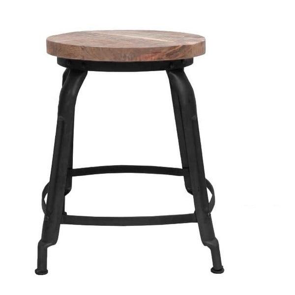 Czarny stołek z siedziskiem z drewna mango LABEL51 Delhi