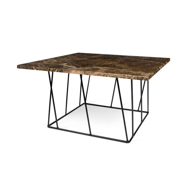 Hnědý mramorový konferenční stolek s černými nohami TemaHome Helix, 75 cm