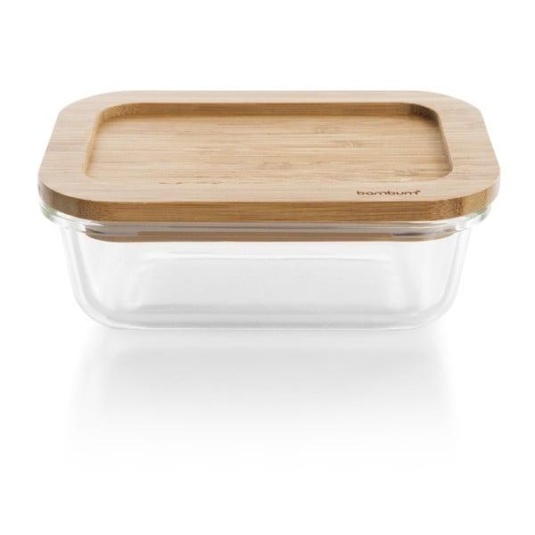 Szklany pojemnik z bambusowym wieczkiem Bambum Glass Storage Box, 370 ml