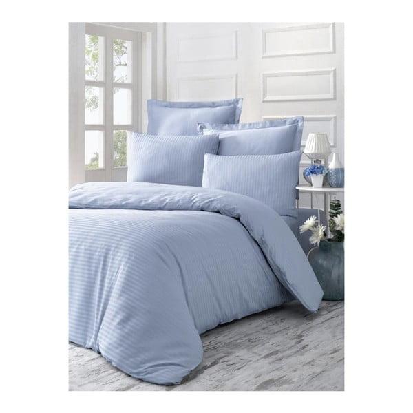 Lenjerie de pat din bumbac satinat Line, 140 x 200 cm, albastru