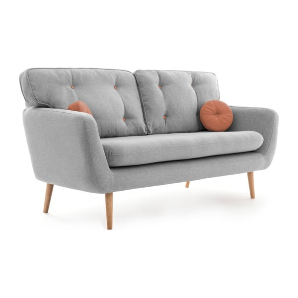 Jasnoszara sofa 3-osobowa z łososiową poduszką VIVONITA Malva