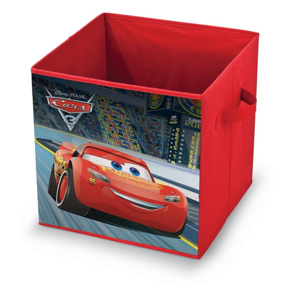 Červený úložný box na hračky Domopak Disney Cars, délka 32 cm