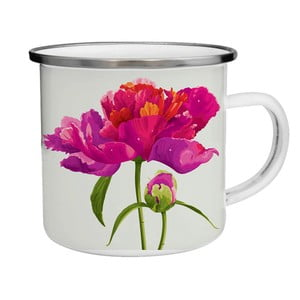 Smaltovaný hrnek s květinou TinMan, 200 ml