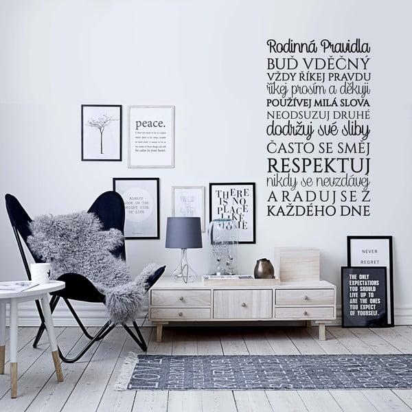 Samolepka na zeď Rodinná pravidla, 70x50 cm