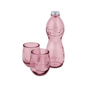 Set 1 sticlă și 2 pahare din sticlă reciclată Ego Dekor Water, roz