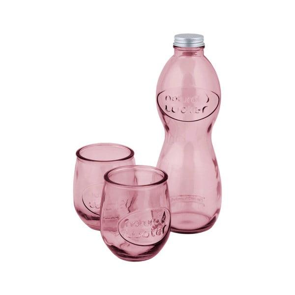 Set růžové lahve na vodu a 2 sklenic z recyklovaného skla Ego Dekor Water