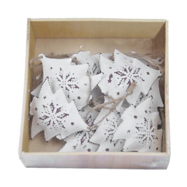 Komplet 10 białych świątecznych ozdób z metalu w kształcie choinki Ego dekor Christmas Tree