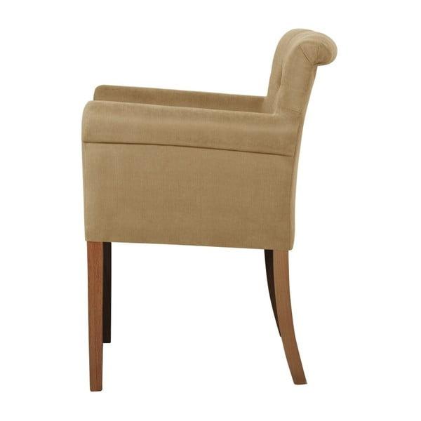 Béžová židle s tmavě hnědými nohami z bukového dřeva Ted Lapidus Maison Flacon