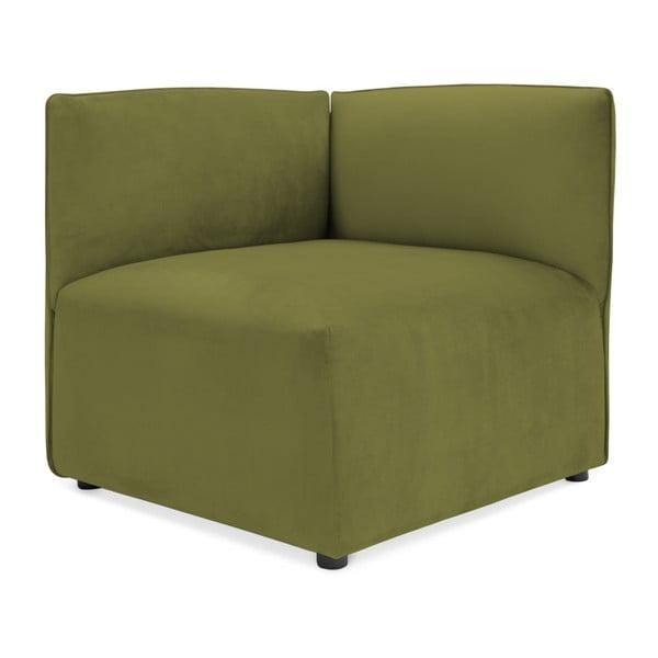 Olivově zelený levý rohový modul pohovky Vivonita Velvet Cube