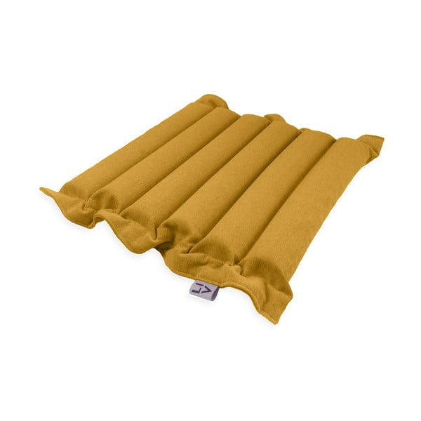 Ciemnożółta poduszka do siedzenia z piłkami do masażu Linda Vrňáková Waves, 50x50 cm