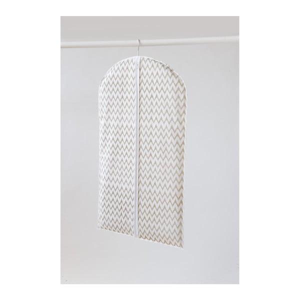 Biały materiałowy pokrowiec na ubrania Compactor Clear, dł. 100 cm