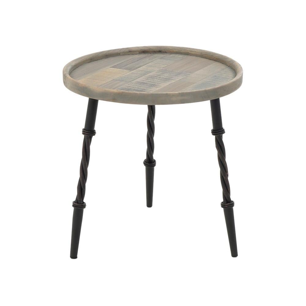 Dřevěný příruční stolek s kovovými nohami InArt, ⌀ 45 x 46 cm