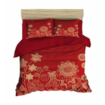 Lenjerie de pat cu cearșaf Flowers Red, 200 x 220 cm imagine