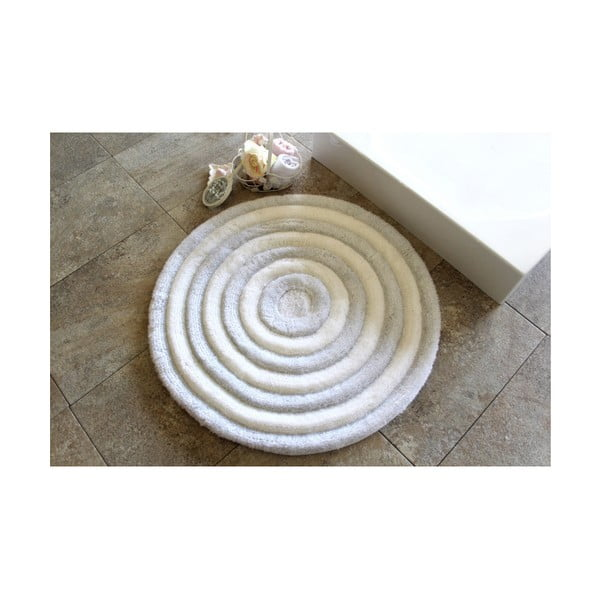 Bílá koupelnová předložka Alessia Ecru, Ø 90 cm