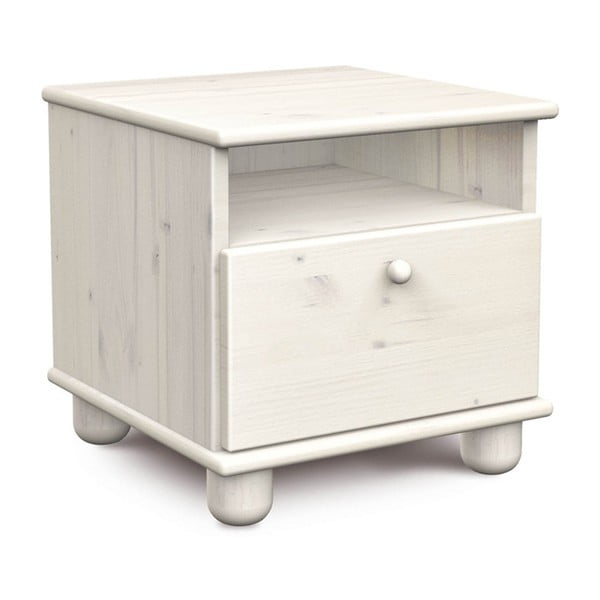 Bílý noční stolek z borovicového dřeva Faktum Tomi