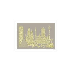Plakát Las Vegas Grey&Yellow, 50x70 cm