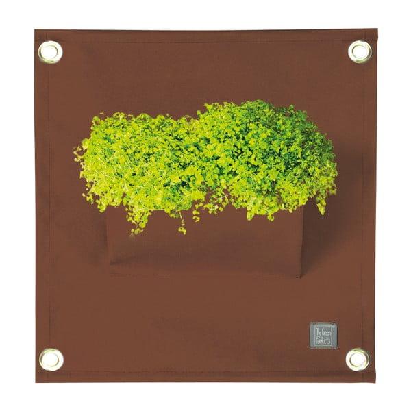 Hnedý závesný kvetináč The Green Pockets Amma, 45×50 cm
