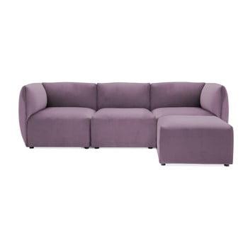 Canapea modulară cu 3 locuri și suport pentru picioare Vivonita Velvet Cube, mov lila de la Vivonita