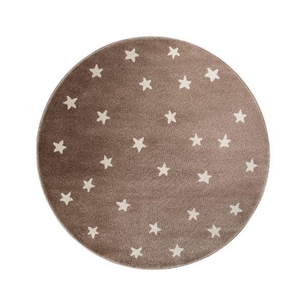 Stars barna, kerek szőnyeg csillag mintával, 80 x 80 cm - KICOTI