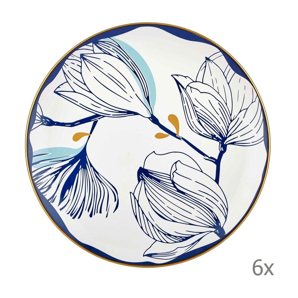 Sada 6 bílých porcelánových jídelních talířů s modrými květy Mia Bloom, ⌀ 26 cm