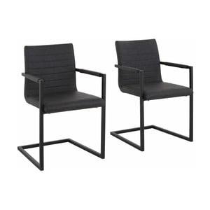 Sada 2 šedých jídelních židlí s područkami Støraa Sandra