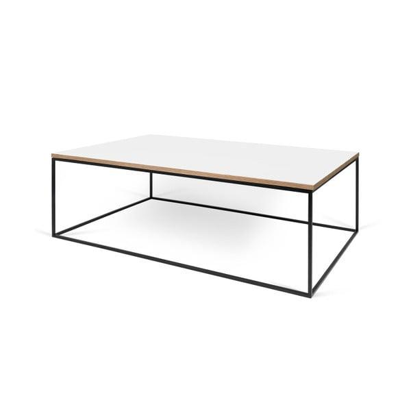 Bílý konferenční stolek s černými nohami TemaHome Gleam, 120 cm