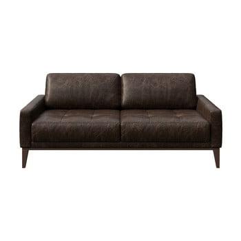 Canapea din piele cu 2 locuri MESONICA Musso Tufted maro închis