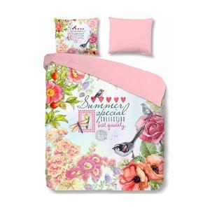 Růžové bavlněné povlečení na jednolůžko Muller Textiels Simone,140x200cm