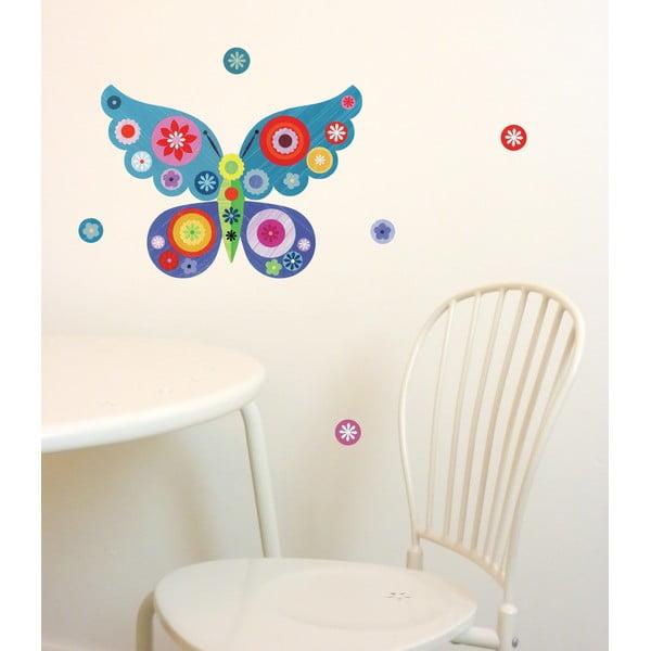 Znovu snímatelná samolepka Butterfly Mini Blue, 30x21 cm