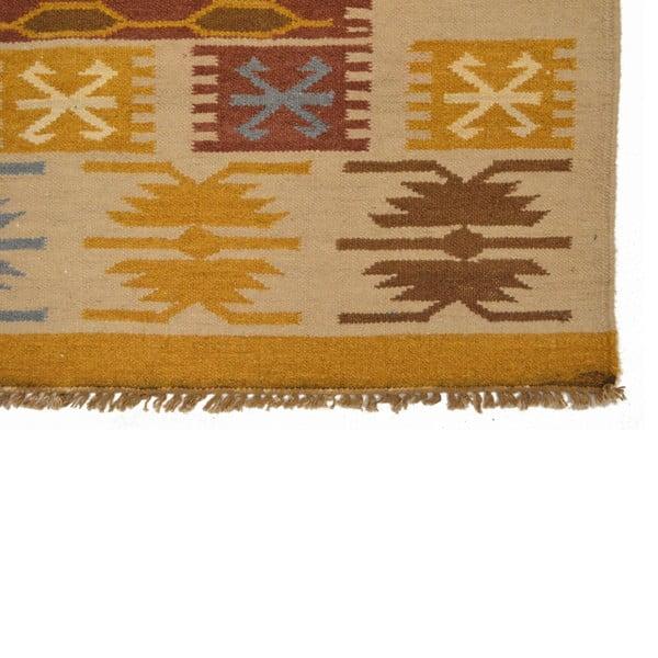 Ručně tkaný koberec Beige Ethno Symbols, 120x180 cm