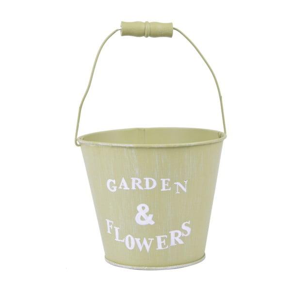 Veľké zelené vedierko Ego Dekor Garden & Flowers, výška 16 cm